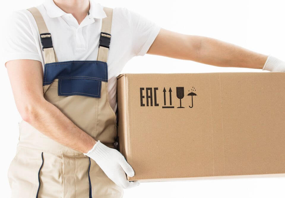 man carrying box with white gloves on